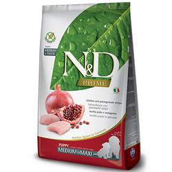 N&D (Naturel&Delicious) - ND Tahılsız Puppy Tavuk Nar Orta ve Büyük Irk Yavru Köpek Maması 12 Kg+10 Adet Temizlik Mendili