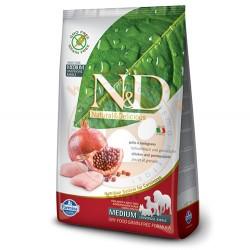 N&D (Naturel&Delicious) - ND Tahılsız Tavuk Nar Orta Irk Yetişkin Köpek Maması 12 Kg+10 Adet Mendil
