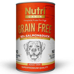Nutri Feline - Nutri Canine Grain Free Tahılsız Somon ve Ördekli Köpek Konservesi 400 Gr