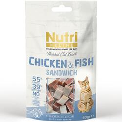 Nutri Feline - Nutri Feline Chicken/Fish Sandwich Tahılsız Kedi Ödülü 80 Gr