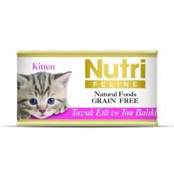 Nutri Feline - Nutri Feline Kitten Tavuk Etli ve Ton Balıklı Tahılsız Yavru Kedi Konservesi 85 Gr