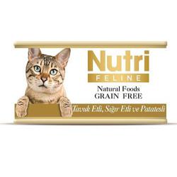 Nutri Feline - Nutri Feline Tavuk Eti Sığır ve Patatesli Tahılsız Kedi Konservesi 85 Gr