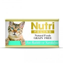 Nutri Feline - Nutri Feline Ton Balık ve Sardalya Tahılsız Kedi Konservesi 85 Gr