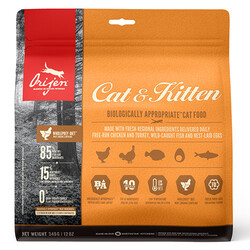 Orijen - Orijen Cat & Kitten Tahılsız Yavru ve Yetişkin Kedi Maması 340 Gr