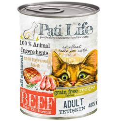 Pati Life - Pati Life Beef Sığır Etli Yetişkin Tahılsız Kedi Konservesi 415 Gr
