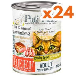 Pati Life - Pati Life Beef Sığır Etli Yetişkin Tahılsız Kedi Konservesi 415 Gr x 24 Adet