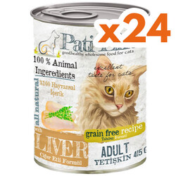 Pati Life - Pati Life Ciğer Etli Tahılsız Kedi Konservesi 415 Gr x 24 Adet