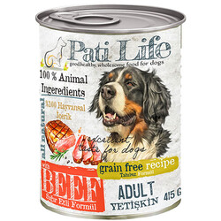 Pati Life - Pati Life Beef Sığır Etli Tahılsız Köpek Konservesi 415 Gr