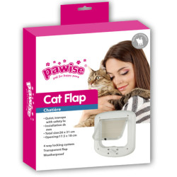 Pawise - Pawise 28052 Cat Flap 4 Yollu Kedi Kapısı Beyaz 26 x 31 Cm