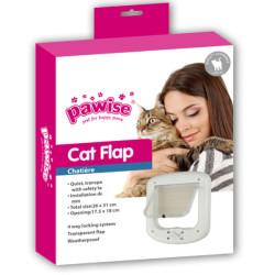 Pawise - Pawise 28052 Cat Flap 4 Yollu Kedi Kapısı Beyaz 26x31 Cm