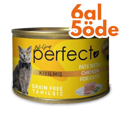 Perfect - Perfect Chicken Pate Kıyılmış Tavuklu Tahılsız Kedi Konservesi 80 Gr - 6 Al 5 Öde