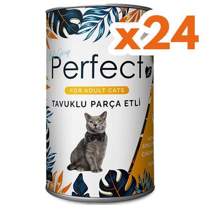 Perfect Chicken Tavuk Eti Parçacıklı Yetişkin Kedi Konservesi 400 Gr x 24 Adet