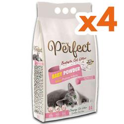 Perfect - Perfect İnce Taneli Bebek Pudralı Topaklanan Kedi Kumu 5 Lt X 4 Adet