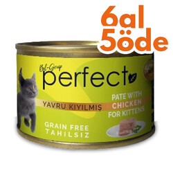 Perfect - Perfect Kitten Chicken Pate Kıyılmış Tavuk Etli Tahılsız Yavru Kedi Konservesi 80 Gr - 6 Al 5 Öde