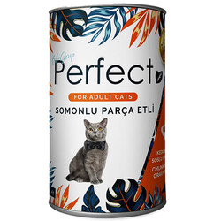 Perfect - Perfect Somon Balık Eti Parçacıklı Yetişkin Kedi Konservesi 400 Gr