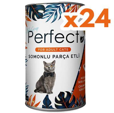 Perfect Somon Balık Eti Parçacıklı Yetişkin Kedi Konservesi 400 Gr x 24 Adet