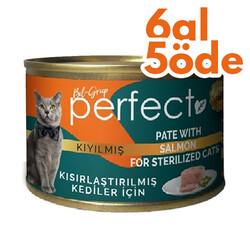 Perfect - Perfect Sterilised Pate Kıyılmış Salmon Kısırlaştırılmış Tahılsız Kedi Konservesi 80 Gr - 6 Al 5 Öde