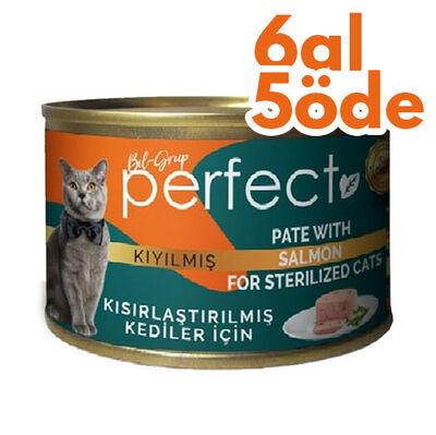 Perfect Sterilised Pate Kıyılmış Salmon Kısırlaştırılmış Tahılsız Kedi Konservesi 80 Gr - 6 Al 5 Öde