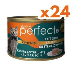 Perfect - Perfect Sterilised Pate Kıyılmış Salmon Kısırlaştırılmış Tahılsız Kedi Konservesi 80 Gr x 24 Adet