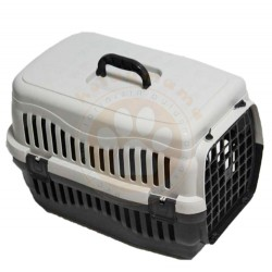 Pet Master - Pet Master Kedi ve Köpek Plastik Taşıma Kafesi Gri (50 x 32 x 31 Cm)