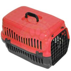 Pet Master - Pet Master Kedi ve Köpek Plastik Taşıma Kafesi Kırmızı (50x32x31 Cm)