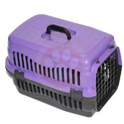 Pet Master - Pet Master Kedi ve Köpek Plastik Taşıma Kafesi Mor (50 x 32 x 31 Cm)