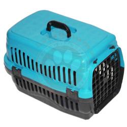 Pet Master - Pet Master Kedi ve Köpek Plastik Taşıma Kafesi Turkuaz (50x32x31 Cm)