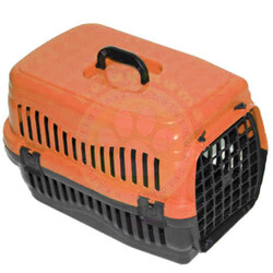 Pet Master - Pet Master Kedi ve Köpek Plastik Taşıma Kafesi Turuncu ( 50 x 32 x 31 Cm )