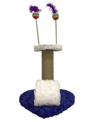 Pet Pretty - Pet Pretty Kalp Tabanlı Yaylı Oyuncaklı Kedi Tırmalama Platformu 30 Cm Mavi