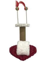 Pet Pretty - Pet Pretty Kalp Tabanlı Yaylı Oyuncaklı Kedi Tırmalama Platformu 30 Cm Kırmızı