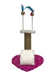 Pet Pretty - Pet Pretty Kalp Tabanlı Yaylı Oyuncaklı Kedi Tırmalama Platformu 30 Cm Pembe