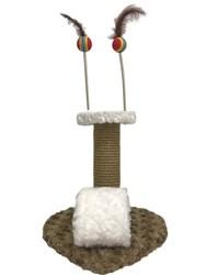 Pet Pretty - Pet Pretty Kalp Tabanlı Yaylı Oyuncaklı Kedi Tırmalama Platformu 30 Cm Kahverengi