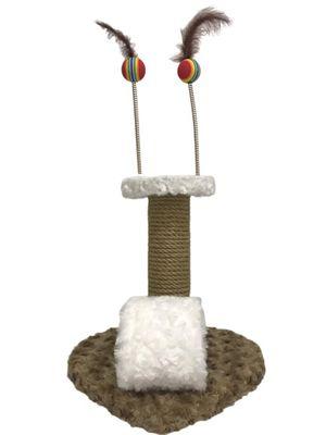 Pet Pretty Kalp Tabanlı Yaylı Oyuncaklı Kedi Tırmalama Platformu 30 Cm Kahverengi