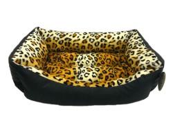 Pet Pretty - Pet Pretty Kedi ve Küçük Irk Köpek için Leopar Desenli Deri Yatak No: 1 (40 x 55 x 15 Cm)