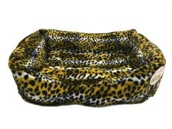 Pet Pretty - Pet Pretty Kedi ve Küçük Irk Köpek için Leopar Desenli Tay Tüyü Yatak No: 1 (40 x 55 x 15 Cm)