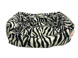 Pet Pretty - Pet Pretty Kedi ve Küçük Irk Köpek için Zebra Desenli Tay Tüyü Yatak No: 1 (40 x 55 x 15 Cm)
