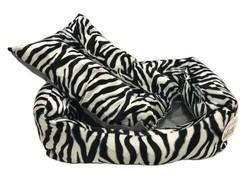 Pet Pretty Kedi ve Küçük Irk Köpek için Zebra Desenli Tay Tüyü Yatak No: 2 (50 x 65 x 18 Cm) - Thumbnail