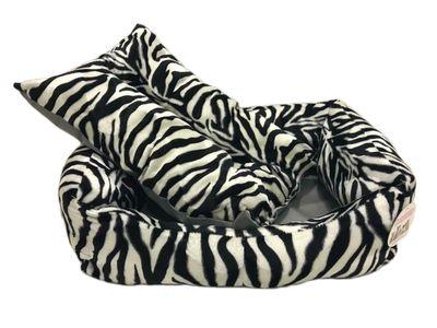 Pet Pretty Kedi ve Küçük Irk Köpek için Zebra Desenli Tay Tüyü Yatak No: 2 (50 x 65 x 18 Cm)