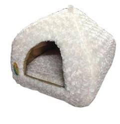 Pet Pretty - Pet Pretty Kedi ve Küçük Irk Köpek Peluş Piramit Yuva Yatak Beyaz (En:43 Boy:43 Yükseklik:40)