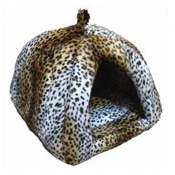 Pet Pretty - Pet Pretty Kedi ve Küçük Irk Köpek Peluş Piramit Yuva Yatak Leopar (En:43 Boy:43 Yükseklik:40)