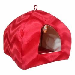 Pet Pretty - Pet Pretty Kedi ve Küçük Irk Köpek Peluş Piramit Yuva Yatak Kırmızı (En:43 Boy:43 Yükseklik:40)