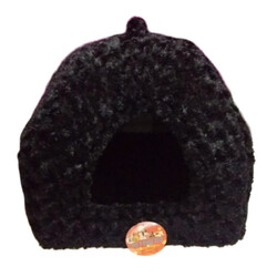 Pet Pretty - Pet Pretty Kedi ve Küçük Irk Köpek Peluş Piramit Yuva Yatak Siyah ( En: 43, Boy: 43, Yükseklik: 40 )