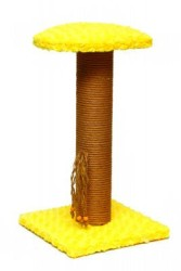 Pet Pretty - Pet Pretty Oturaklı Kare Taban Kedi Tırmalama Platformu Sarı 50 Cm