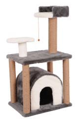 Pet Pretty - Pet Pretty S1 Yuvalı ve Oturaklı Kedi Tırmalama 105x60x40 Cm Gri