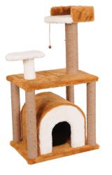 Pet Pretty - Pet Pretty S1 Yuvalı ve Oturaklı Kedi Tırmalama 105 x 60 x 40 Cm Kahverengi