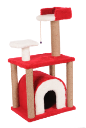 Pet Pretty - Pet Pretty S1 Yuvalı ve Oturaklı Kedi Tırmalama 105 x 60 x 40 Cm Kırmızı