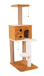 Pet Pretty - Pet Pretty S9 Yuvalı ve Oturaklı Kedi Tırmalama 124 x 55 x 40 Cm Kahverengi
