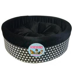 Pet Pretty - Pet Pretty Special Küçük Irk Köpek ve Kedi Desenli Simit Yatak (Siyah Yıldız)