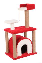Pet Pretty - Pet Pretty S1 Yuvalı ve Oturaklı Kedi Tırmalama 105x60x40 Cm Kırmızı