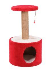 Pet Pretty - Pet Pretty Yuvalı Silindir Kedi Tırmalama Kırmızı 75 x 40 Cm